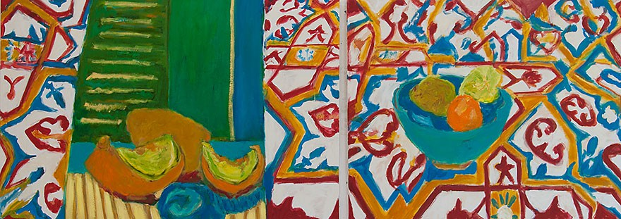 Tiles from Ein Hod  2013  oil on canvas/diptych  80 x 200 cm/31 x 79 in