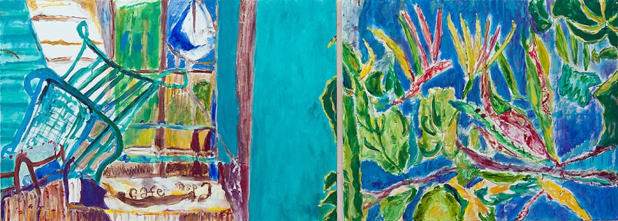 Cafe Ein Hod  2013 oil  on canvas/diptych  80 x 200 cm/31 x 79 in