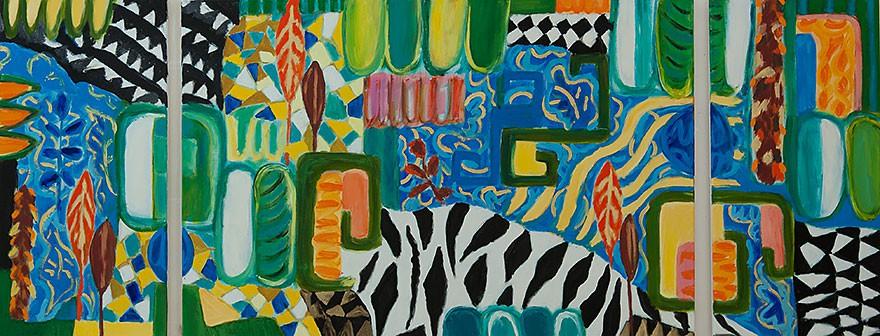 Zebra  2013  Oel auf Leinwand/3-teilig  80 x 200 cm/31 x 126 in