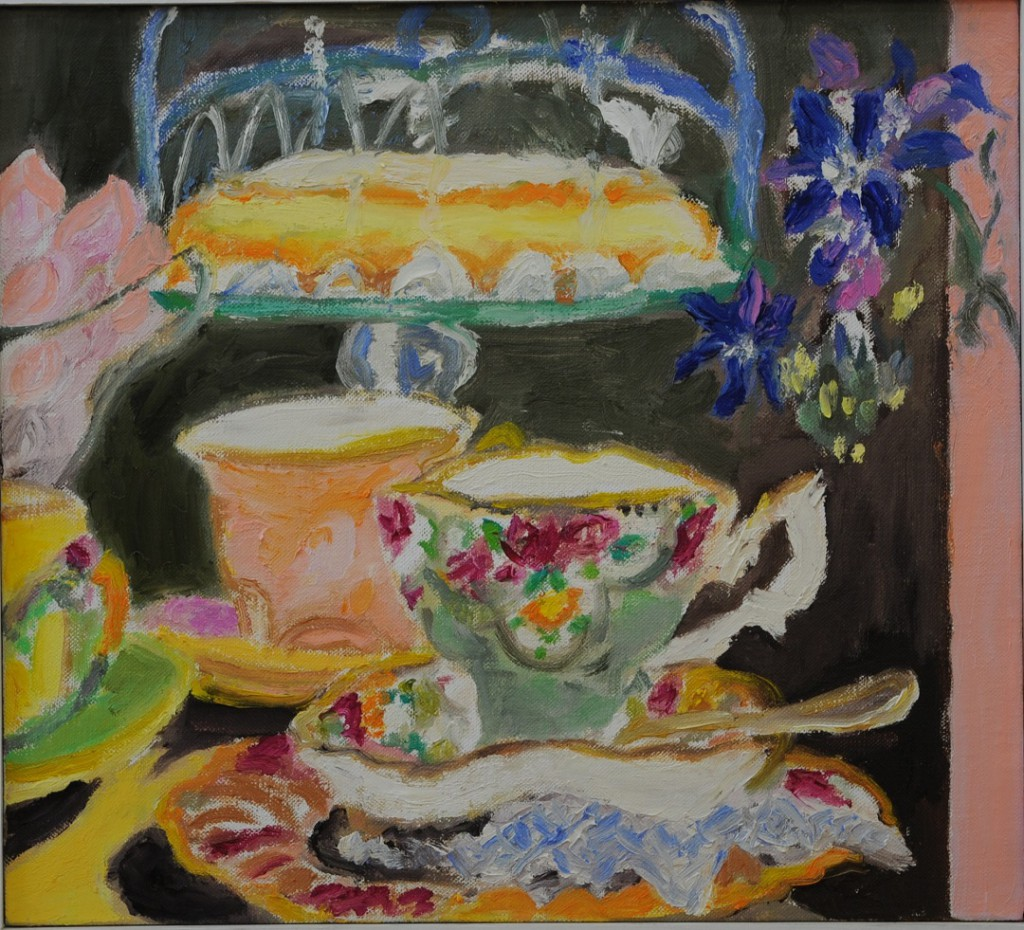 Tea with Lemon Cake  2017  oil on canvas  40 x 40 cm/16 x 16 in
