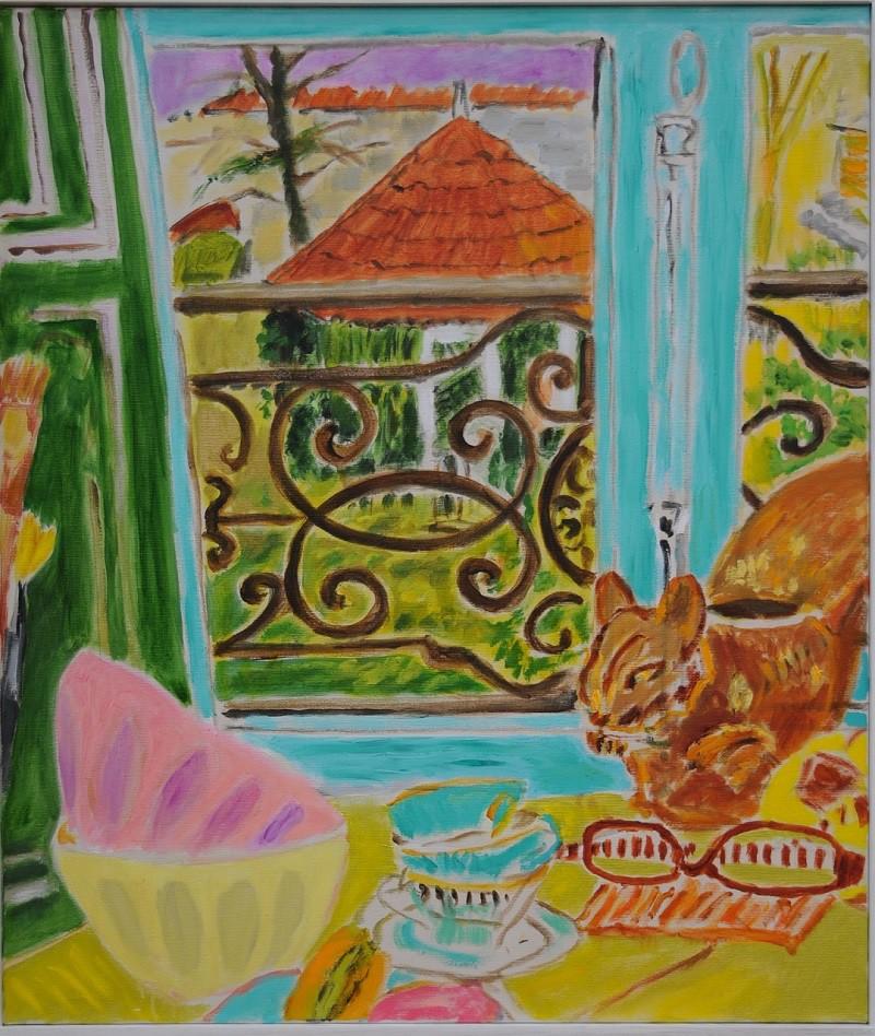 Vue sur jardin avec pavillon  2019  Oel auf Leinwand  70 x 60 cm/28 x 24 in