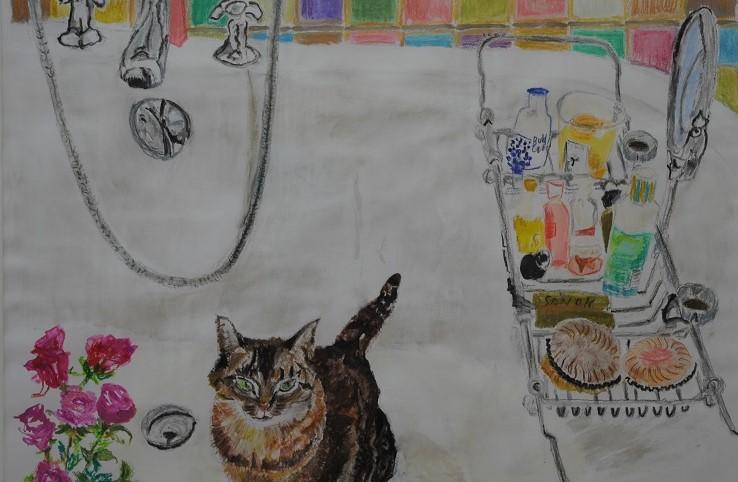 Chat dans le Bain  2019  Aquarell auf Papier  50 x 70 cm/20 x 28 in